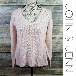JOHN + JENN Pale Pink Blush V Neck Sweater Medium